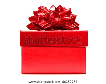 Red gift box with lid and bow on a white background