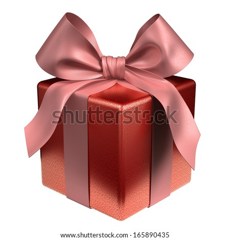 red gift box with matching shiny bow - stock photo