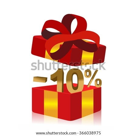 red gift box with 10 percent discount inside - stock photo