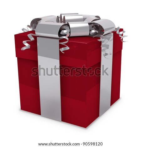Red Gift Box with Silver Ribbon - stock photo