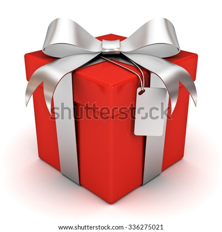 Red gift box with silver ribbon bow and blank tag isolated on white background - stock photo