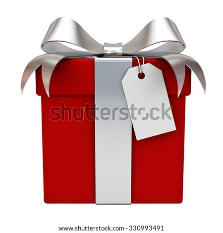 Red gift box with silver ribbon bow and blank tag isolated over white background - stock photo