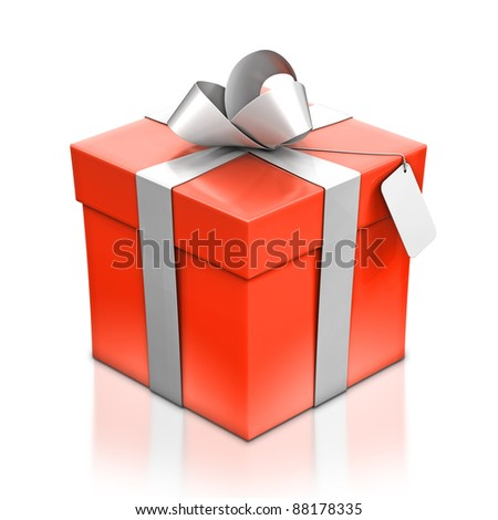 Red gift box with silver ribbon. High resolution 3D illustration with clipping paths. - stock photo