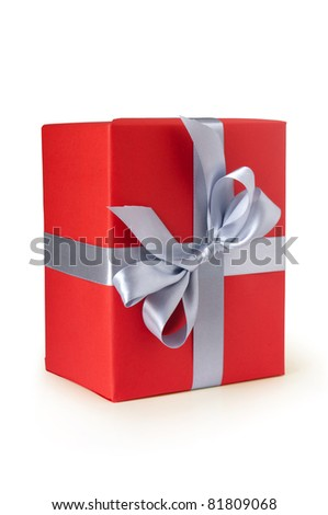 red gift box with silver ribbon isolated on white - stock photo