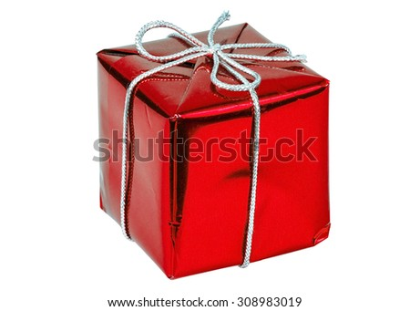 Red gift box with silver ribbon isolated on white background with clipping path - stock photo
