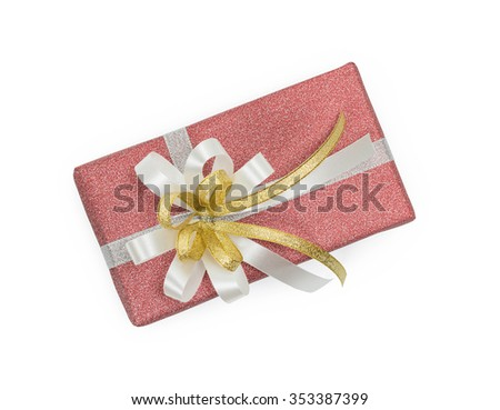 Red gift box with white and gold ribbons bow  on white  background - stock photo