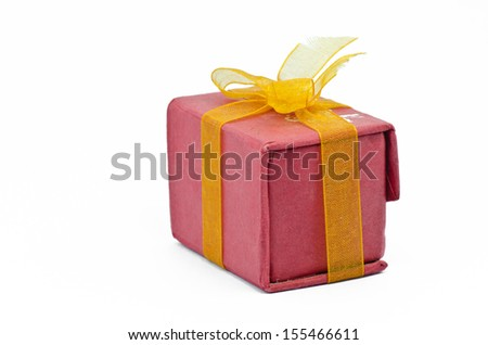 Red gift box with white background - stock photo