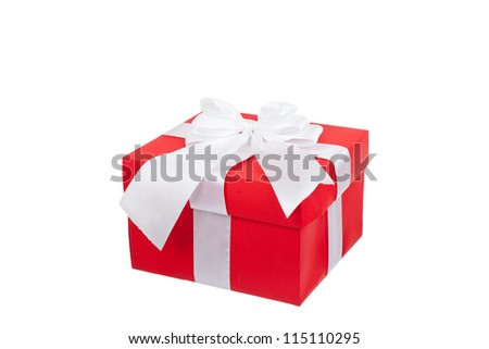 red gift box with white ribbon bow isolated on white background, series photo different angle view, concept of christmas birthday anniversary new year surprise present - stock photo