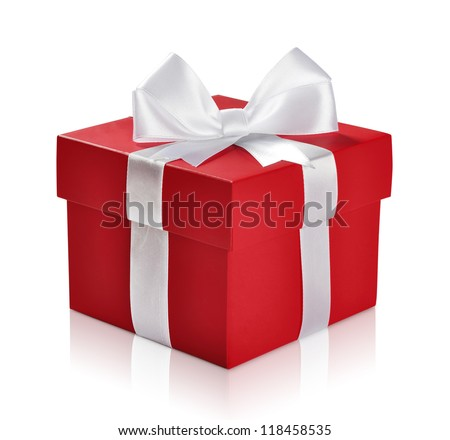 Red gift box with white ribbon isolated on white background. Clipping path included.