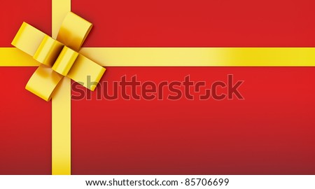 red gift box with yellow ribbon - stock photo