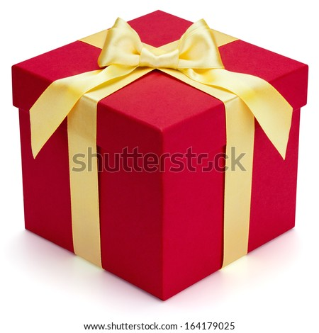 Red gift box with yellow ribbon and bow, isolated on the white background, clipping path included. - stock photo