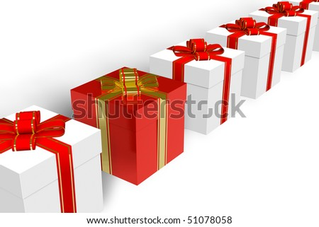 Red gift box within the row of white ones