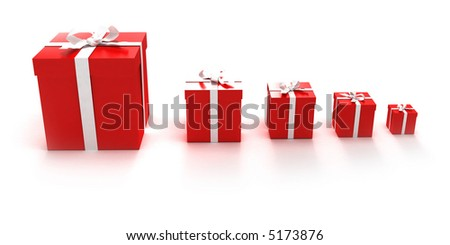 Red gift boxes in different sizes - stock photo