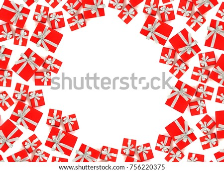 Red gift boxes with white ribbon on white background