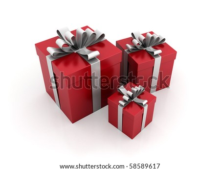 Red gift boxes with white ribbons - stock photo
