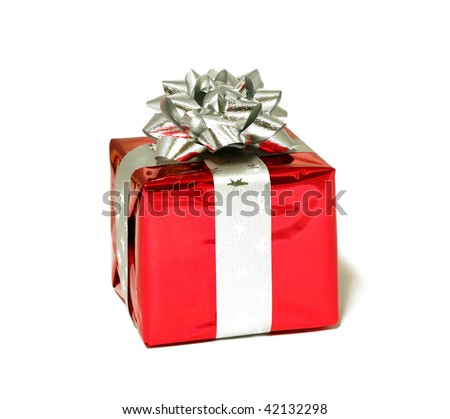 red gift isolated on white - stock photo