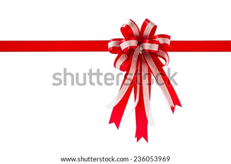 Red gift ribbon and bow, isolated on white background , Clipping path included
