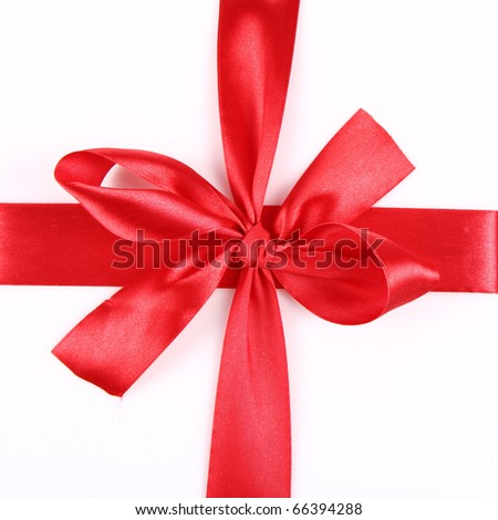 Red Gift Ribbon Bow in over white background - stock photo
