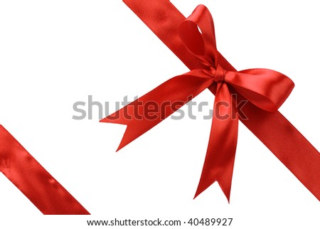 Red Gift Ribbon Bow Isolated on White