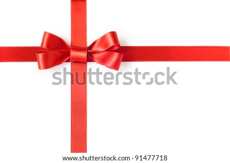 Red gift ribbon bow on white background