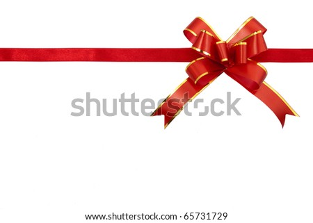 Red gift ribbon isolated on white background - stock photo