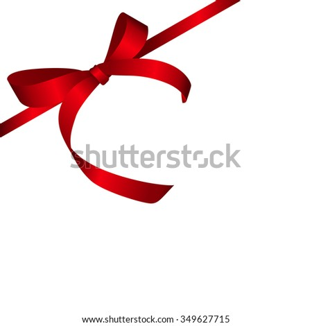 Red Gift Ribbon. Isolated on White. illustration