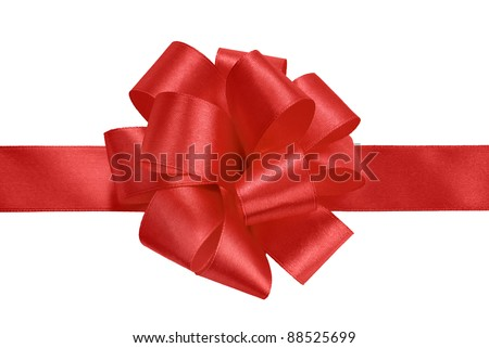 red gift satin ribbon bow on white background - stock photo