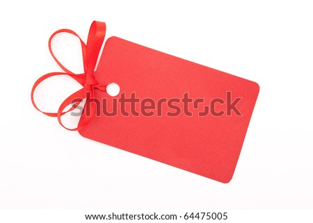 Red gift tag with bow - stock photo