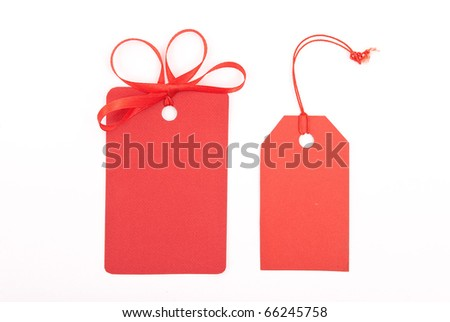 Red gift tags - stock photo