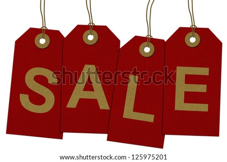 Red Gift Tags with word Sale in Gold isolated on white, Having a Sale