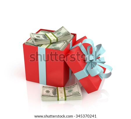 Red gift with bundles of hundred dollar bills with ribbon and bow on a white background.