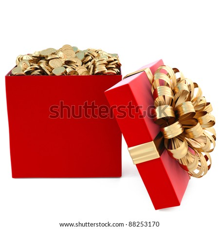 red gift with golden coins. isolated on white. - stock photo