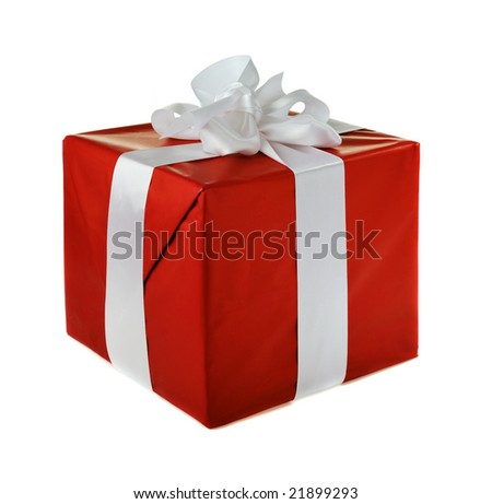 red gift with white satin  bow isolated on white background - stock photo