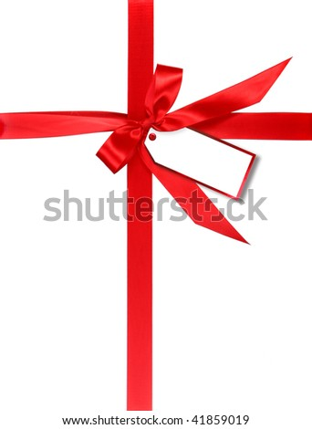Red Gift Wrapped With Ribbon and Tag For Your Own Design - stock photo