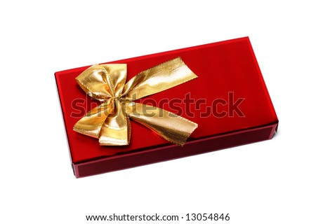 Red giftbox isolated on the white background