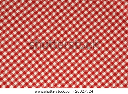 Red gingham fabric background. - stock photo