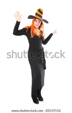 Red girl in halloween striped black-yellow hat