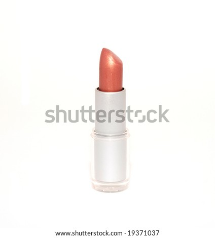 Red glamour lipstick isolated on white - stock photo