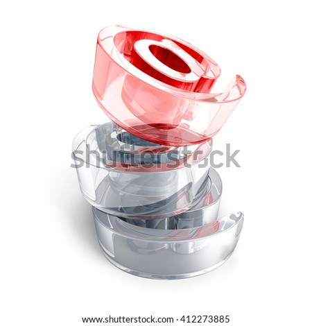 red glass at e-mail icon symbol on white background. 3d render illustration - stock photo