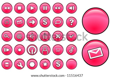 Red glass buttons