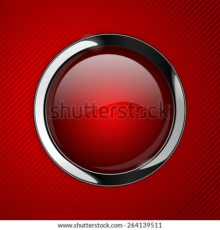 Red glass buttons on red abstract background, web icon with metallic frame.  Raster version - stock photo