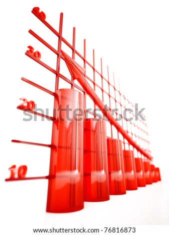 red glass columns of diagram with arrow rising upwards - stock photo