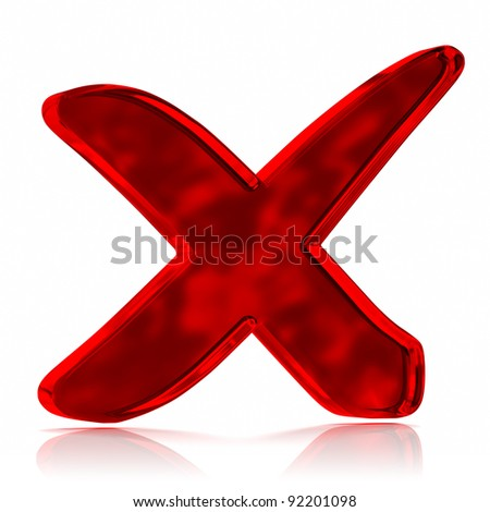 Red glass cross mark symbol. Part of a series. - stock photo