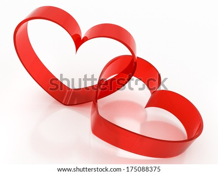 red glass heart-shaped on a white background
