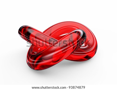 Red glass knot isolated on white