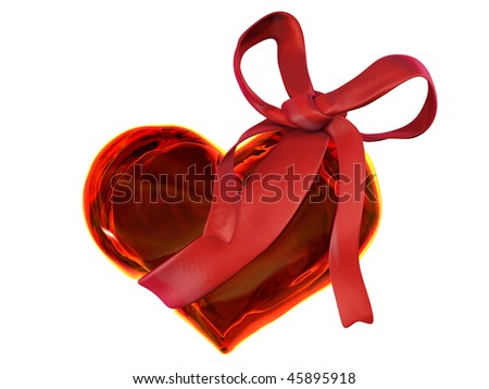 red glass valentine with red bow isolated on white background