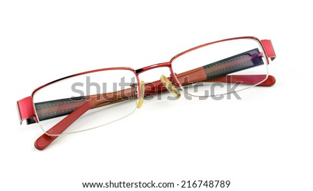 Red glasses isolated on white background - stock photo