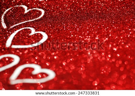 Red glitter background with hearts, valentines day design - stock photo
