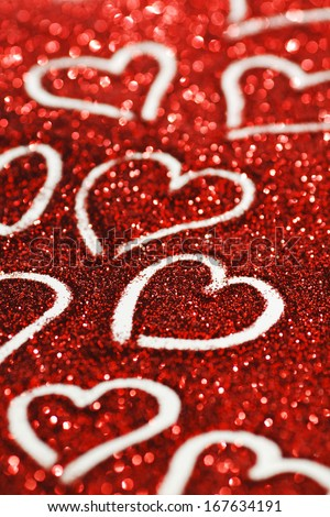Red glitter Valentines day card with hearts - stock photo