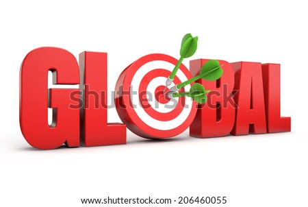 red global text and dart hitting a target isolated white background - stock photo